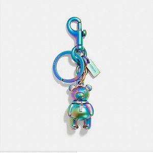 COACH 3D Bear Oilslick Hologram Iridescent Key Fob